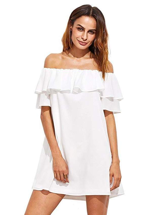 Milumia Women's Off Shoulder Ruffles Shift Loose Mini Dress
