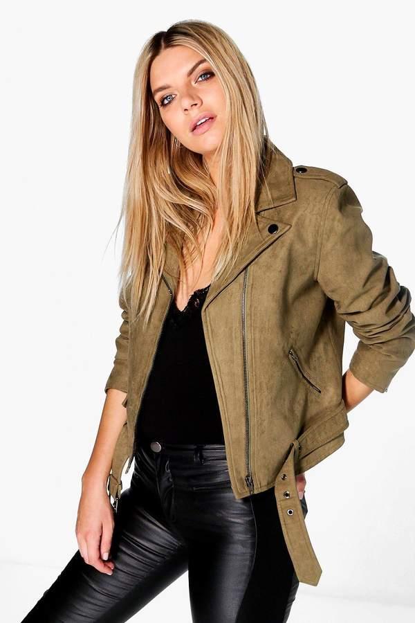 Niamh Boutique Faux Suede Biker Jacket