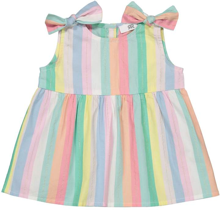 LA REDOUTE COLLECTIONS Cotton Rainbow Striped Blouse with Bows, 1 Month-3 Years