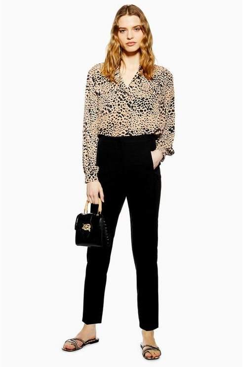 Topshop Womens Black Cigarette Trousers