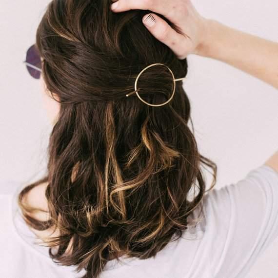 Minimal Brass Hair Pin, Round Hair Piece, Simple Hair Accessory, Curly Hair, Textured, Thick Hair, Brass Hairpin - Brass Orbital Hair Pin