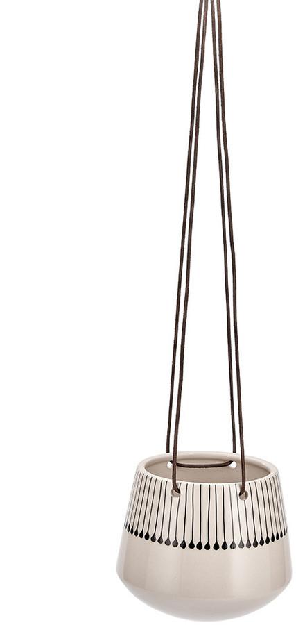 Nkuku - Matamba Ceramic Hanging Planter - Large - Black Matchsticks