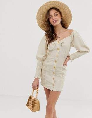 ASOS DESIGN button through shirred linen mini dress