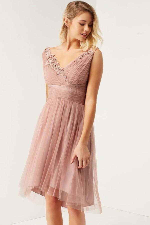 Little Mistress Rose Applique Mesh Prom Dress