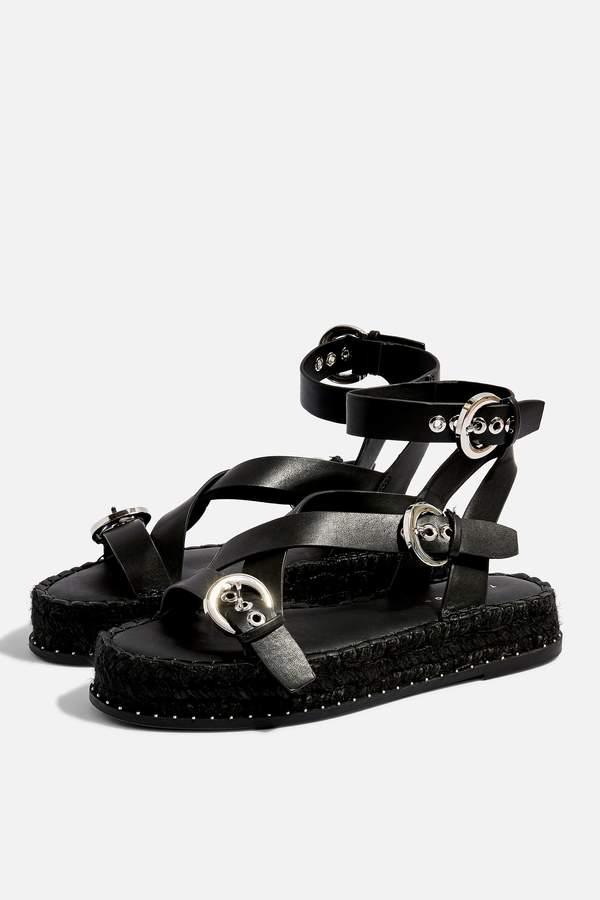 Topshop Womens Hunter Black Espadrille Sandals - Black