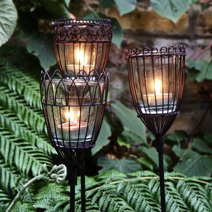 London Garden Trading Three Wire Tealight Garden Stakes