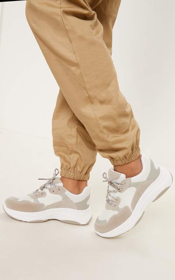 White PU Panel Chunky Trainer