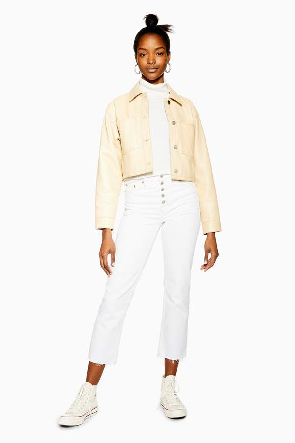 Topshop Womens White Button Fly Straight Jeans - White