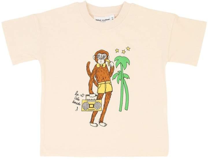 Mini Rodini Monkey Print Organic Cotton T-shirt