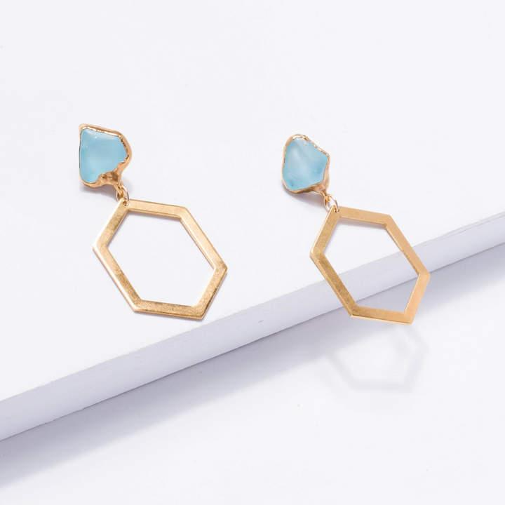 Etsy Raw Topaz Statement Earrings, ETB1, Sky Topaz Statement Jewelry, December Birthstone Earrings, Raw C