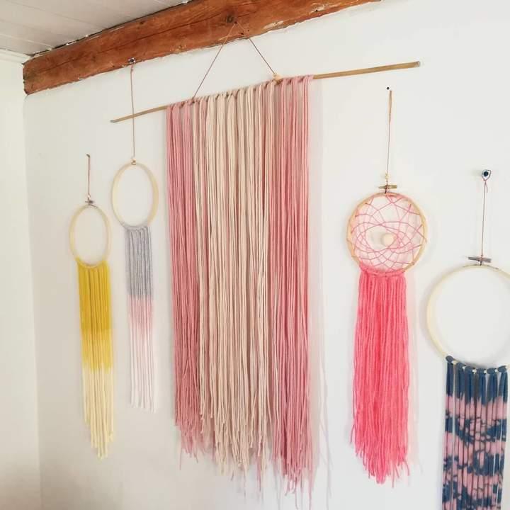 eka Wall Hanging In Soft Blush Cotton