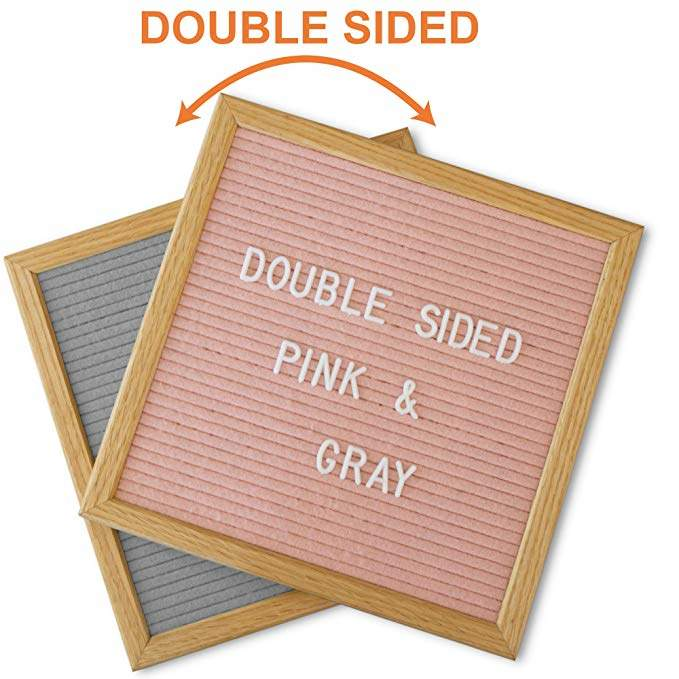 Felt Letter Board Pink and Gray Double Sided with Stand and 600 Letters. 10x10 American Oak Wood Changeable Message Board. Pregnancy Baby Announcement Sign.