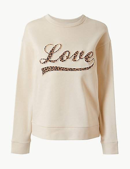 Per Una Pure Cotton Printed Long Sleeve Sweatshirt