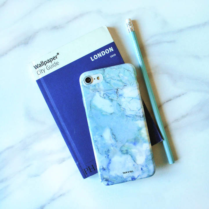 Talk & Tell Pastel Blue Marble iPhone Case