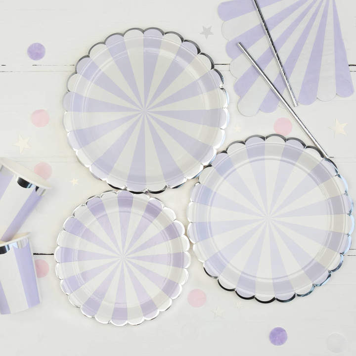 Postbox Party Lilac And White Stripe Party Plates