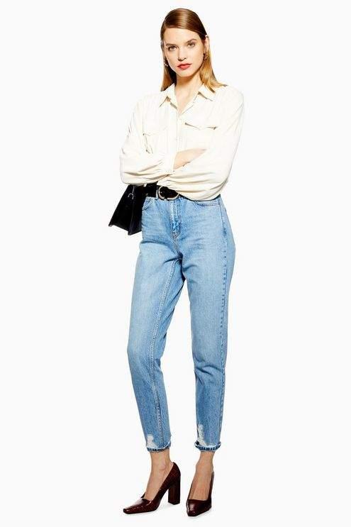 Topshop Womens Bleach Ripped Hem Mom Jeans