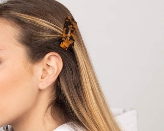 Tortoise shell hair barrette, Square acetate hair clip, Hair accessories, Acrylic hair pin, Fashion accessories, Hair barrette