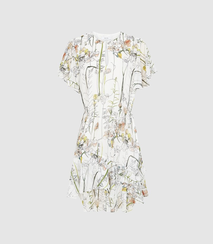 Reiss Juno - Floral Printed Mini Dress in White