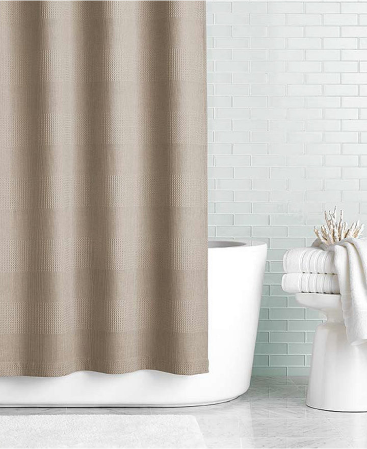 "Hotel Collection 72"" X 84"" Extra Long Waffle Knit Shower Curtain"