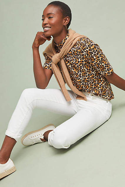 Anthropologie Leopard Short-Sleeved Turtleneck
