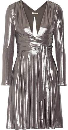 Halston Heritage Cutout Pleated Lame Mini Dress