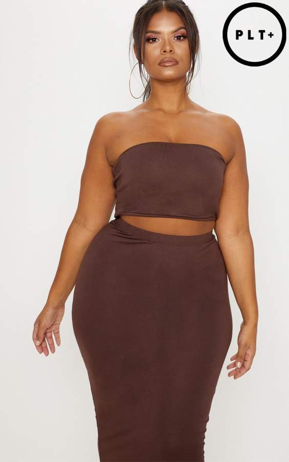 Plus Chocolate Brown Jersey Bandeau Crop Top