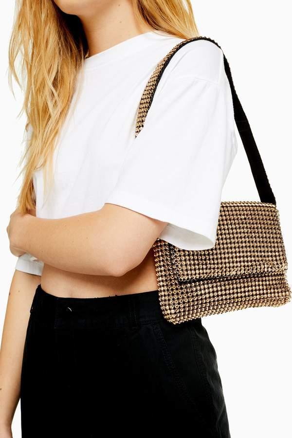 Topshop Womens Serena Chainmail Shoulder Bag - Gold