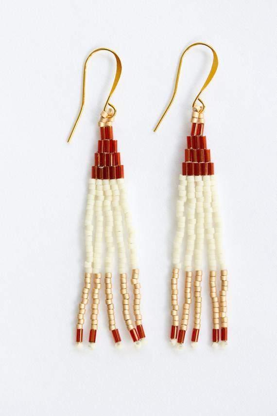 Earth Toned Dangle Tassel Earrings, Long Minimalist Earrings, Seed Bead Earrings, Statement Earrings, Beaded Fringe Earrings,
