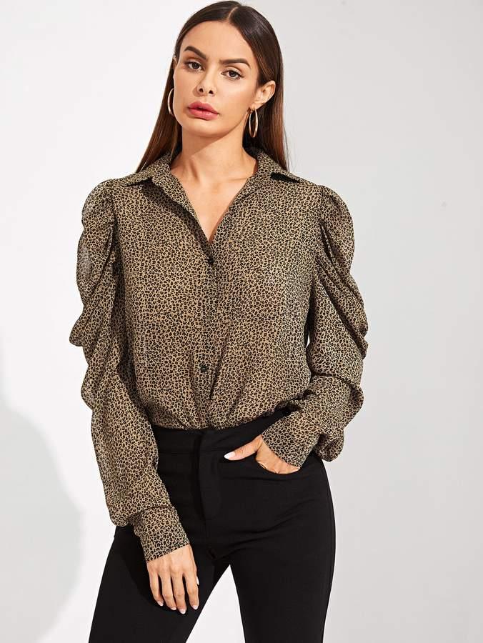 Shein Draped Sleeve Leopard Print Shirt