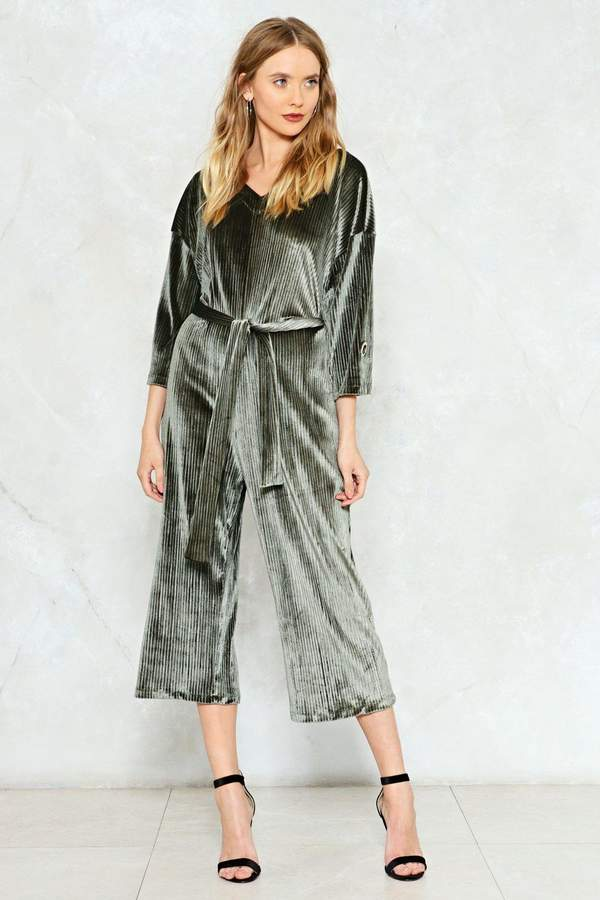 Nasty Gal Get a Jump Start Pleated Velvet Jumpsuit