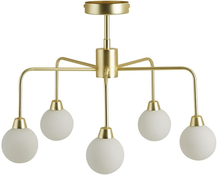 Boyd White glass and brass metal 5 arm chandelier