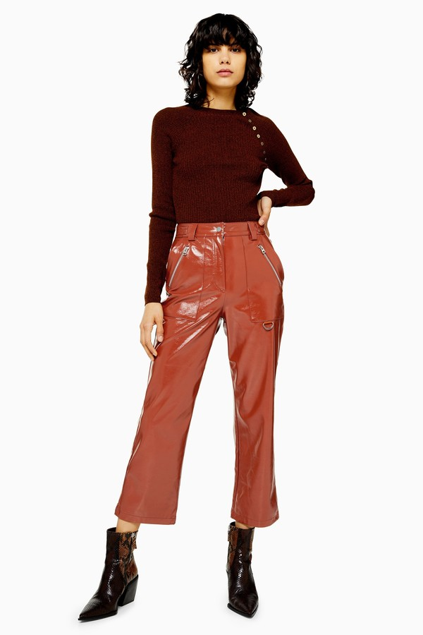 Topshop Womens Brown Faux Leather Vinyl Straight Leg Trousers - Brown
