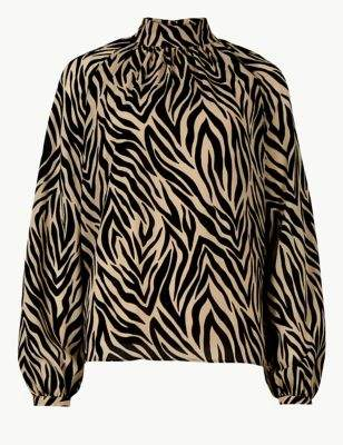 Animal Print High Neck Long Sleeve Blouse
