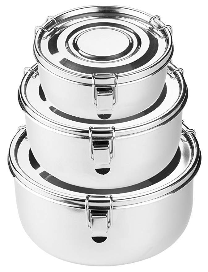 Premium Stainless Steel Food Storage Containers   316 Grade   The Original Leak-Proof, Airtight, Smell-Proof - Perfect For Camping Trips, Lunches, Leftovers, Soups, Salads & More (Set of 3)