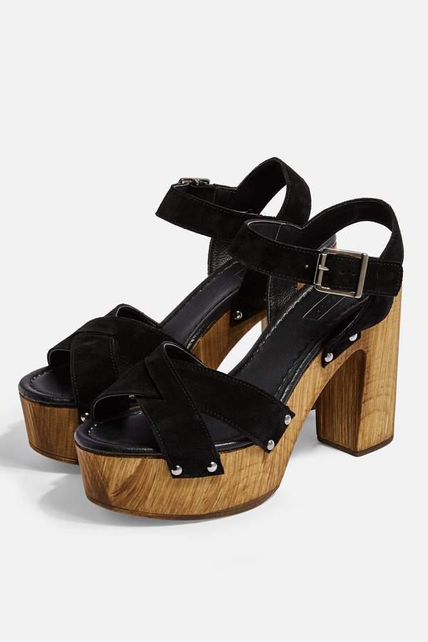 Topshop Womens Vanessa Black High Clog Sandals - Black