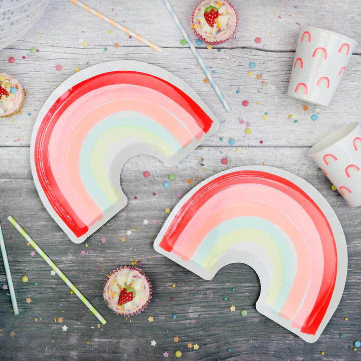 Postbox Party Neon Rainbow Party Plates