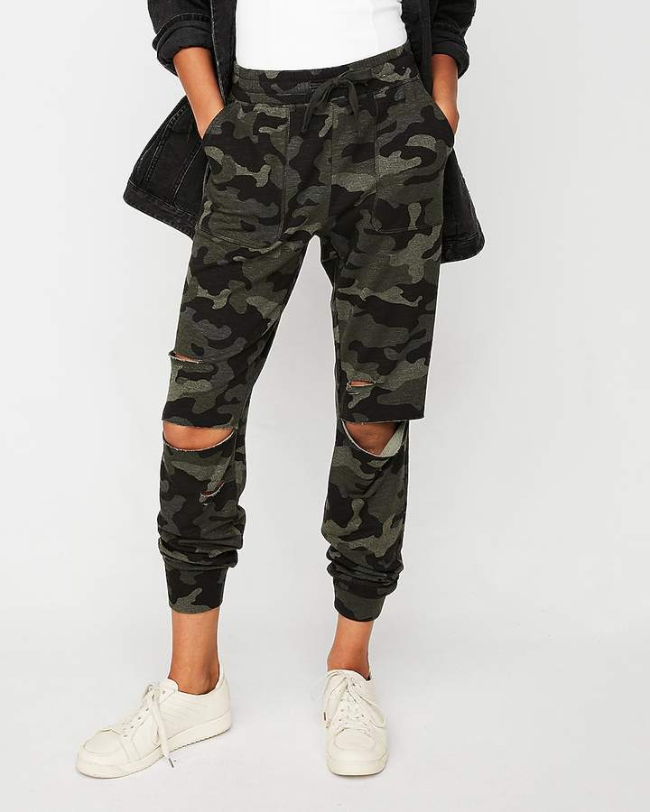 Express One Eleven Destroyed Terry Jogger Pant