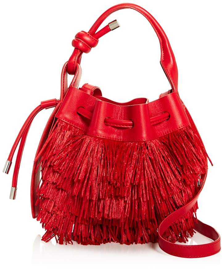 Behno Ina Mini Raffia Fringe Bucket Crossbody - 100% Exclusive
