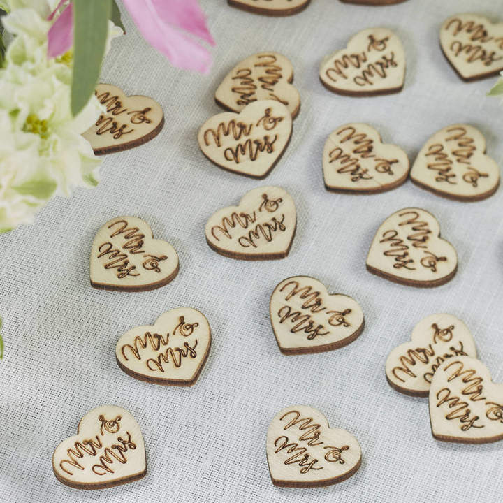 Ginger Ray Boho Wooden Mr And Mrs Heart Shaped Table Confetti