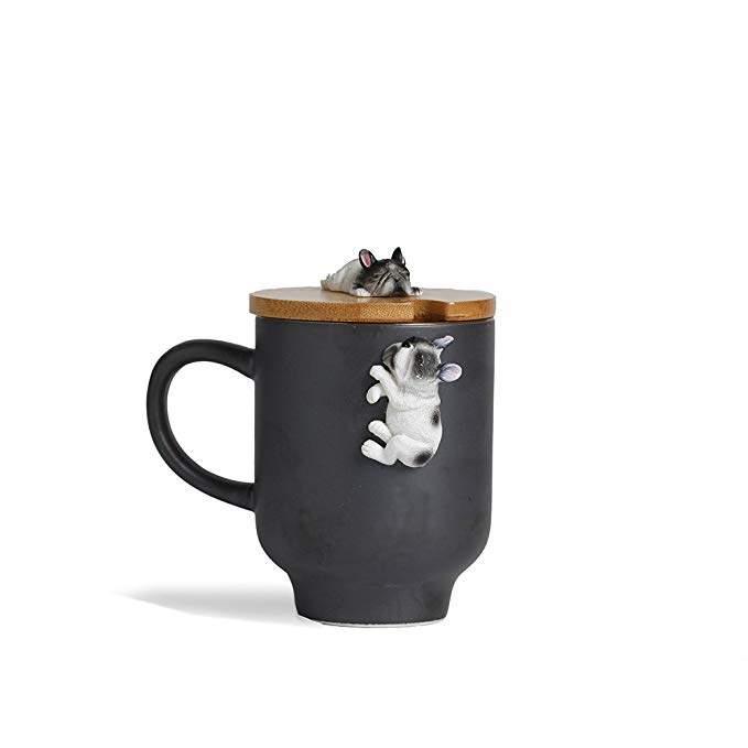 Dog Lover Mug with Funny Bamboo Lid,Handcrafted 3D Cute Sleep French Bulldog Figurine Ceramic Tea Milk Cup for Frenchie Mom Gift-(12oz,350ML) (Black, Sleep French Bulldog)