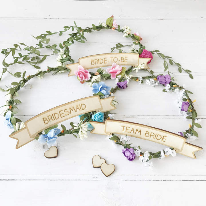 Postbox Party Hen Party Floral Head Piece With Personalised Sign