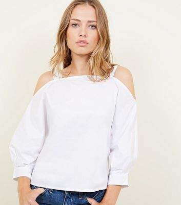 Apricot White Cold Shoulder Balloon Sleeve Top