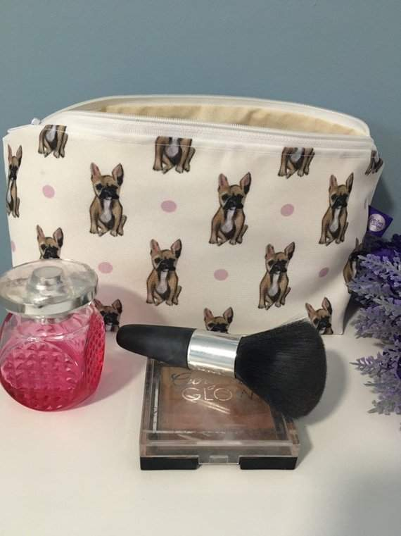 Frenchie, french Bulldog, makeup bag , cosmetics bag, for frenchie lovers, for dog lovers, french Bulldog gift