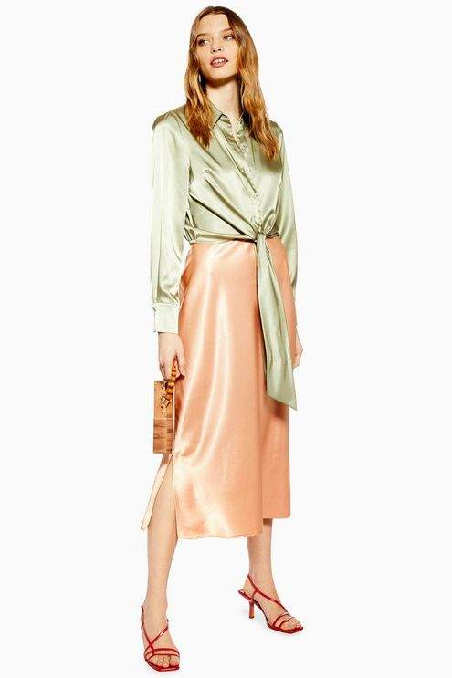 Topshop Womens Split Side Satin Bias Midi Skirt - Apricot