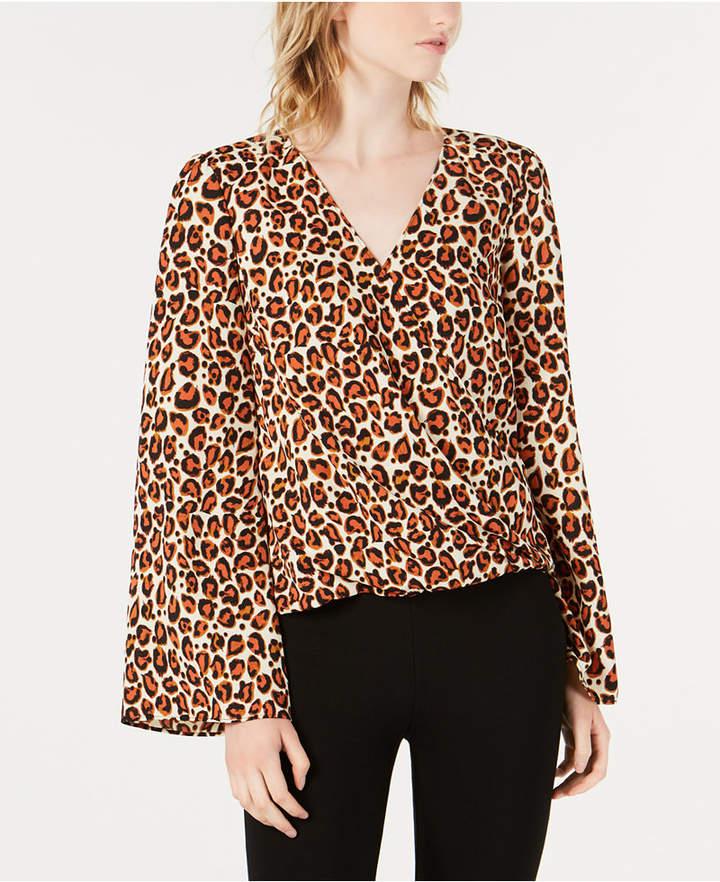 Bar Iii Leopard-Print Surplice Bell-Sleeve Top