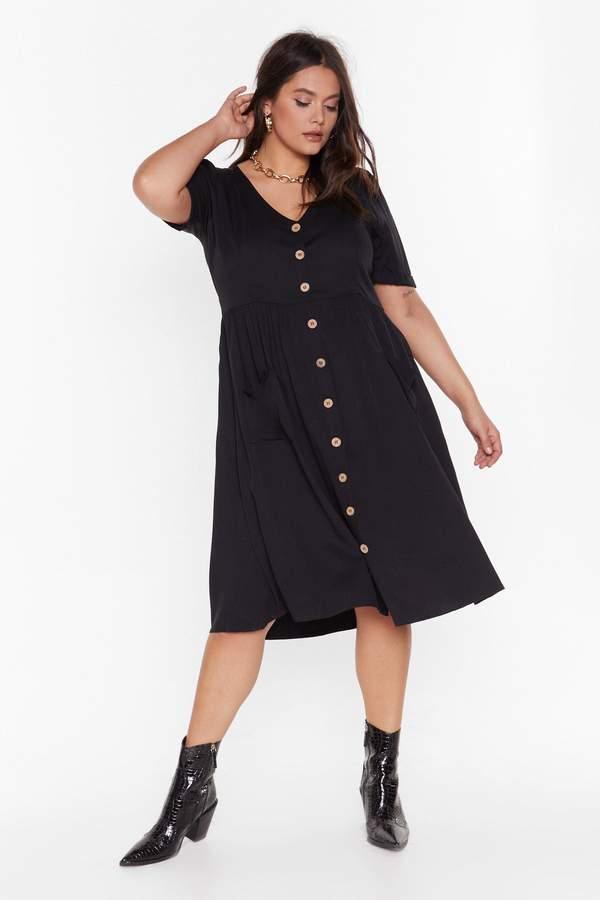 Nasty Gal Womens Ms Button Front Midi Smock Dress - Black - 16, Black