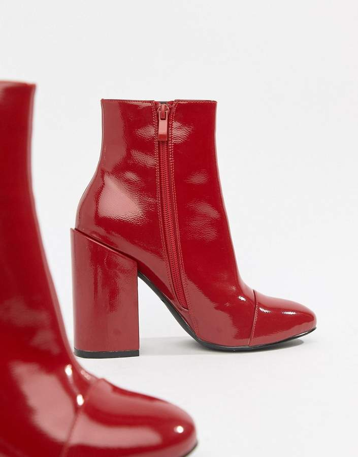 Raid RAID Dolley Red Patent Heeled Ankle Boots