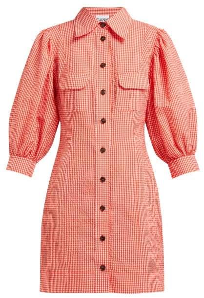 Ganni - Gingham Puff Sleeve Seersucker Mini Shirtdress - Womens - Red White