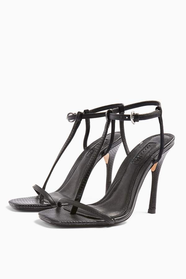 Topshop Womens Rhys Black T Bar High Heels - Black