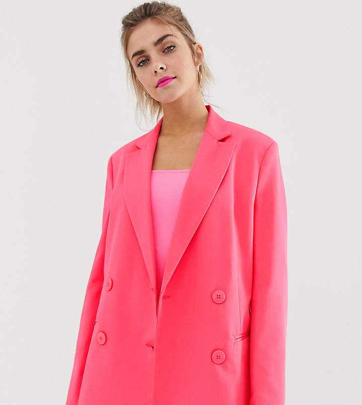 Bershka x PANTONE blazer in neon pink